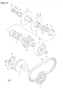 アドレスV125駆動系の分解図です